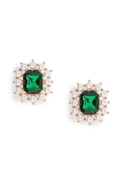 Uhani z diamantki in zelenimi dragulji