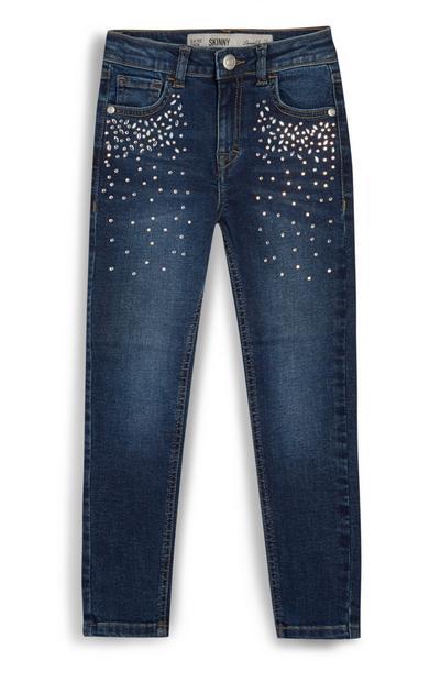 Indigoblauwe jeans met stras voor meisjes