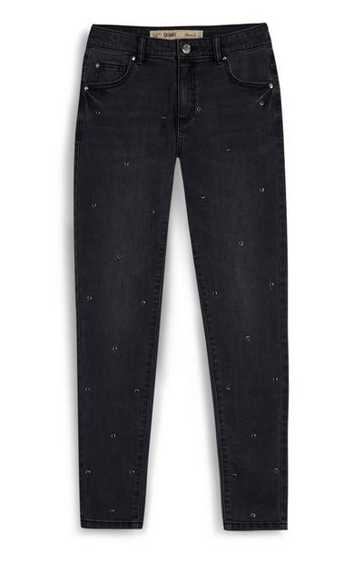 Zwarte gebleekte skinny jeans met studs voor meiden