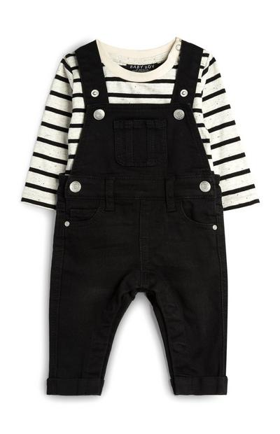 Baby Boy Black Dungarees With White Striped T-Shirt