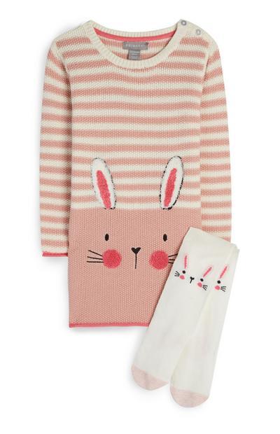 Abito in maglia e collant rosa con coniglietto da neonata