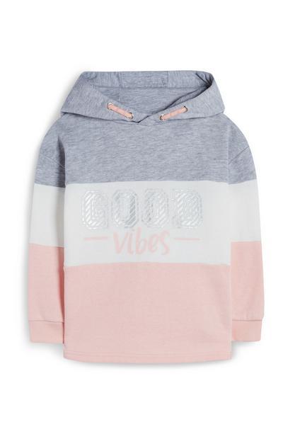 Rosa-weiß-grauer Kapuzenpullover im Farbblock-Design (kleine Mädchen)