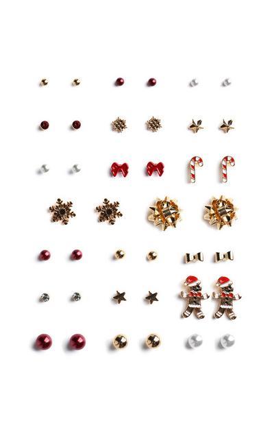 Pack de 20 pares de pendientes de botón navideños