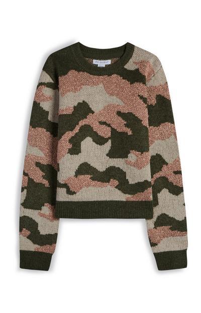 Pull rose et kaki à imprimé camouflage ado