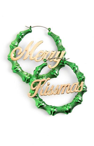 Merry Kissmas Hoop Earrings