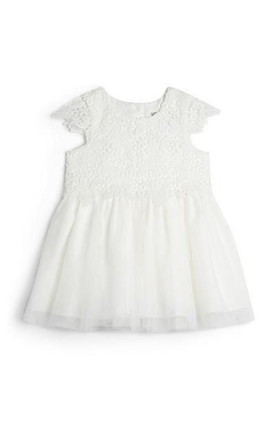 Elfenbeinfarbenes Kleid in Mesh-Optik mit Stickereien für Babys (M)