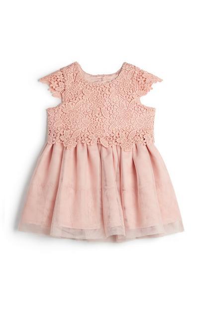 Robe rose poudré brodée en résille bébé fille