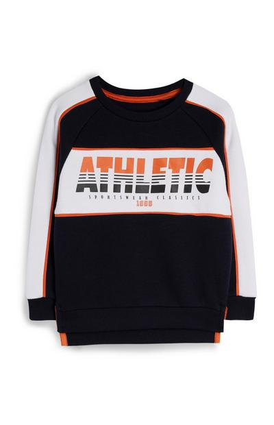 Younger Boy Black Athletic Slogan Sweatshirt
