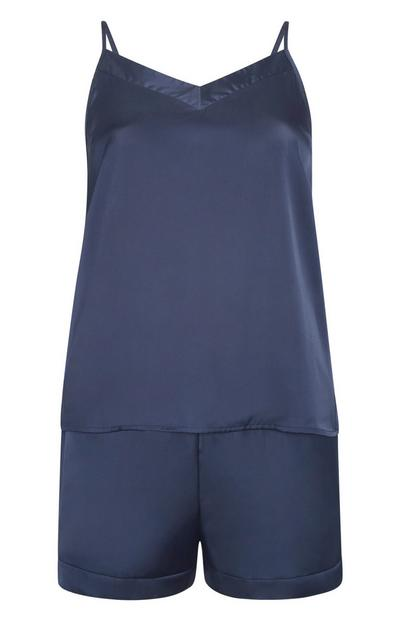 Satijnen pyjama, marineblauw