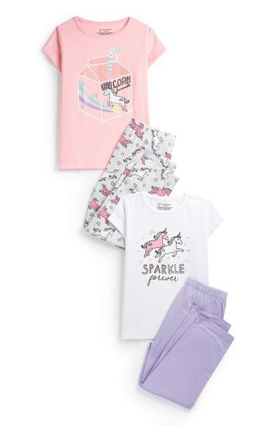 Pyjamaset mit Einhorn-Print, 2er-Pack