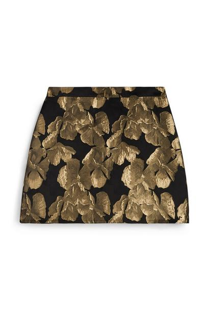 Gold And Black Jacquard Mini Skirt
