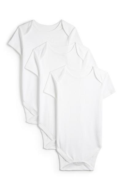 Pack 3 body manga curta branco básico recém-nascido