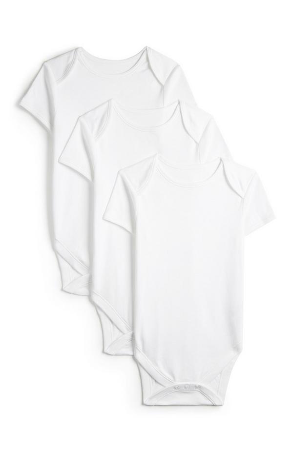 3-Pack Newborn Baby Basic White Short Sleeve Onesies
