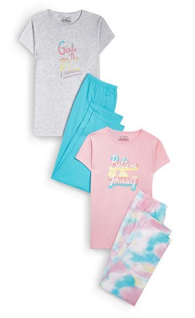 Lot de 2 pyjamas tie and dye à message ado