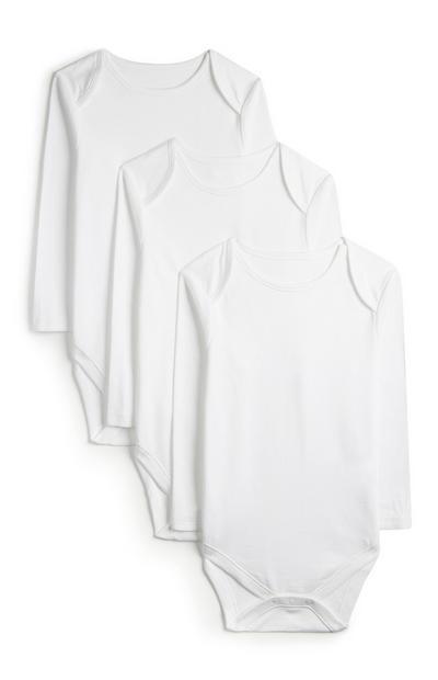 Pack 3 body manga comprida branco básico recém-nascido