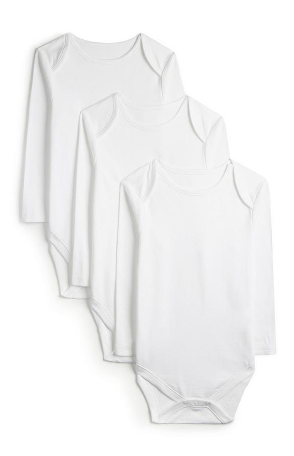 3-Pack Newborn Baby Basic White Long Sleeve Onesies
