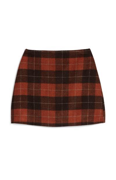 Minifalda de lana de cuadros marrones