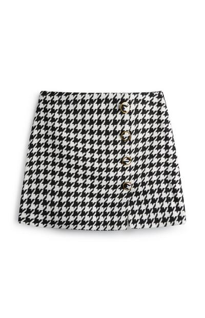 Dogtooth Button Midi Skirt