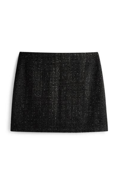 Minifalda de bouclé con purpurina negra
