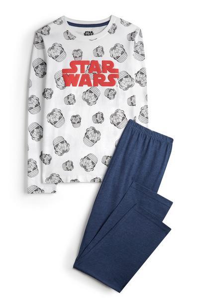 Wit-blauwe Star Wars-pyjama, set van 2