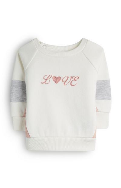 Pull ivoire Love à col ras du cou bébé fille