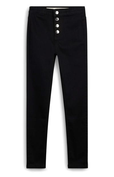 Calças ganga skinny com botões preto rapariga