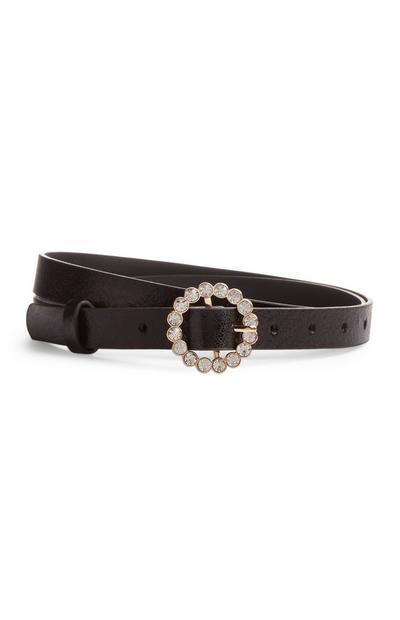 Cinturón negro fino con strass