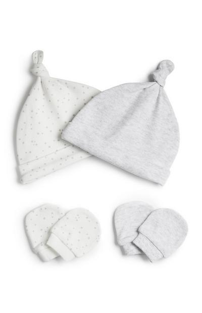 Pack 2 pares gorros e luvas cinzento recém-nascido