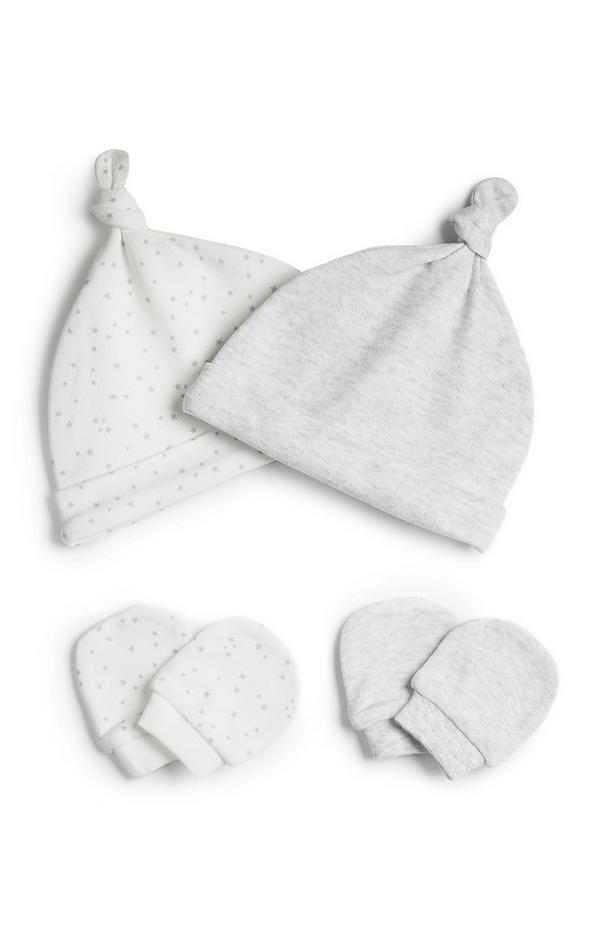 Newborn Baby Grey Hat And Scratch Mitt Set 2pk