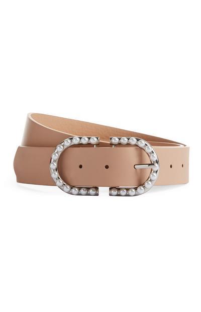 Cinturón color nude con perlas