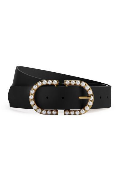 Cinturón negro con perlas decorativas