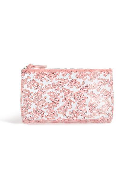 Nécessaire cor-de-rosa transparente