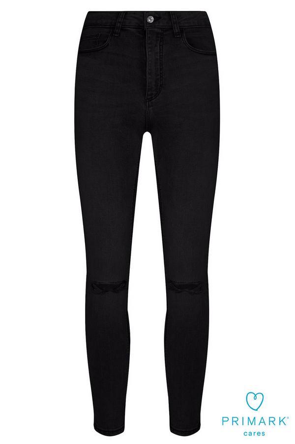 Schwarze Jeans aus nachhaltiger Baumwolle im Used-Look