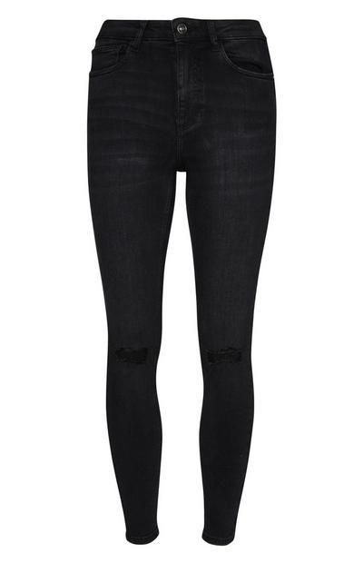 Schwarze Skinny Jeans im Used-Look