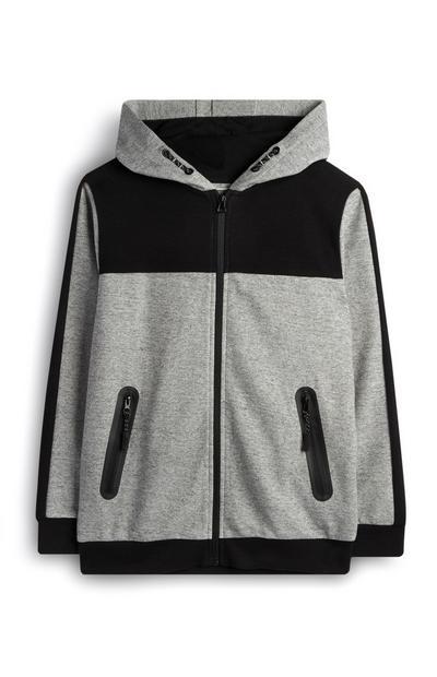 Sudadera con capucha, cremallera y bloques de color en gris para niño mayor