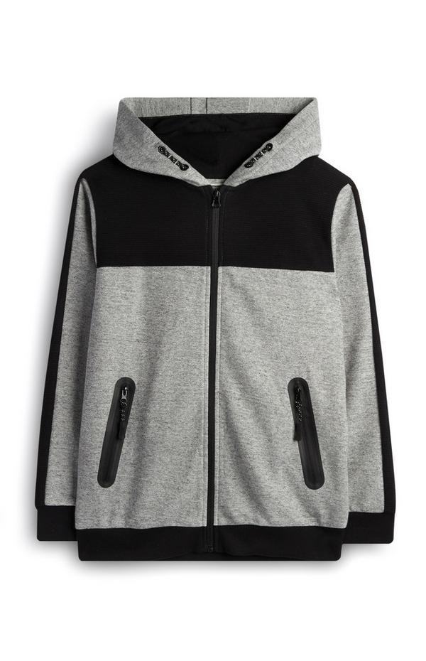 Grijze hoodie met kleurenblokken en rits voor oudere jongens