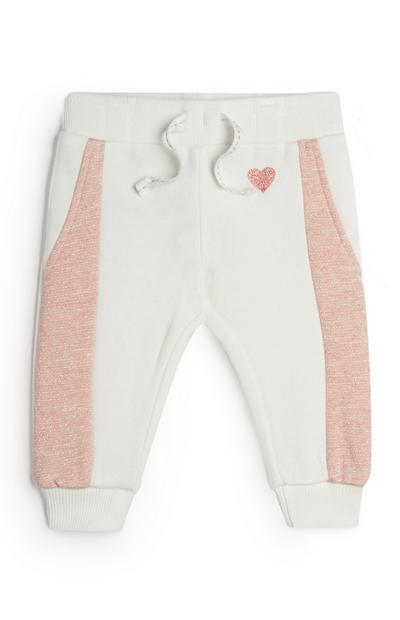 Baby Girl Ivory And Pink Joggers