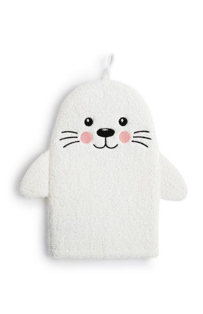 Luva banho foca branco