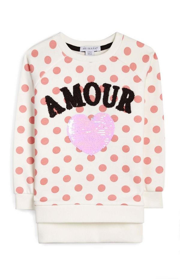 Gepunktetes Sweatshirt mit Herz (kleine Mädchen)
