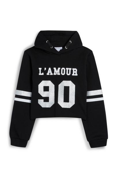 Sudadera corta negra con capucha «Lamour» para niña mayor