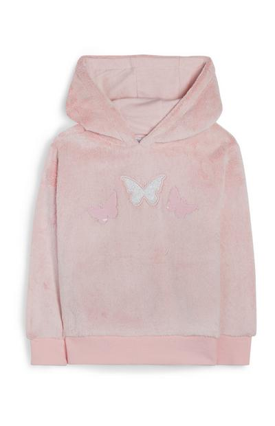 Younger Girl Pink Butterfly Hoodie