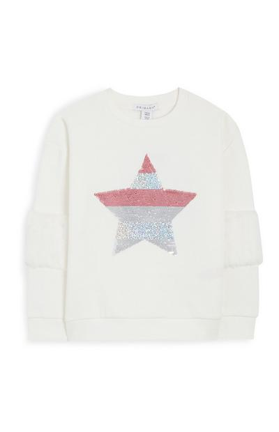 Younger Girl White Fur Sleeve Star Jumper