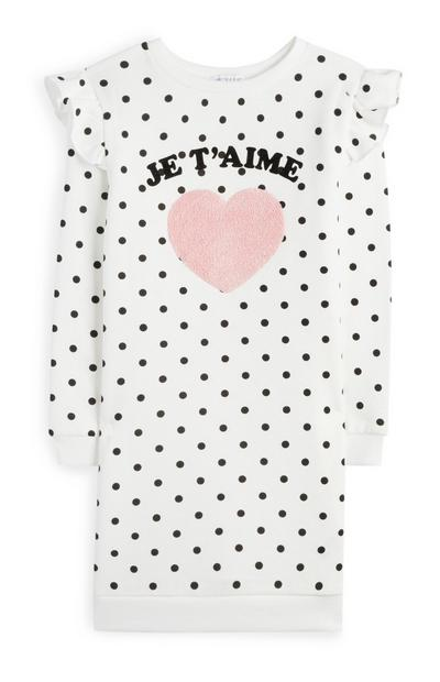 Younger Girl White Polka Dot Jumper Dress With Sherpa Heart