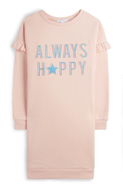 Younger Girl Pink Always Happy Sweater Dress