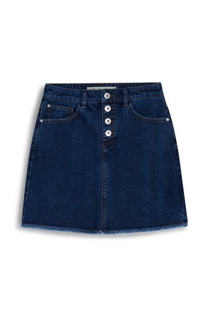 Older Girl Indigo Buttoned Denim Skirt