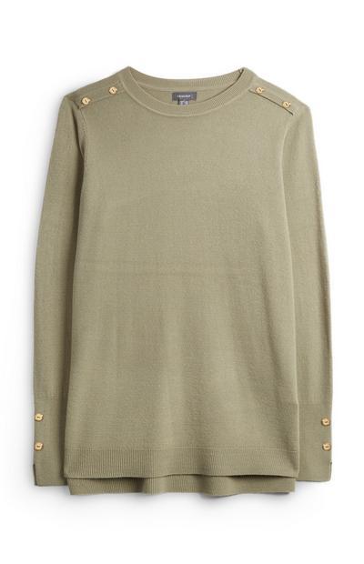 Khakifarbener superweicher Pullover mit Knöpfen