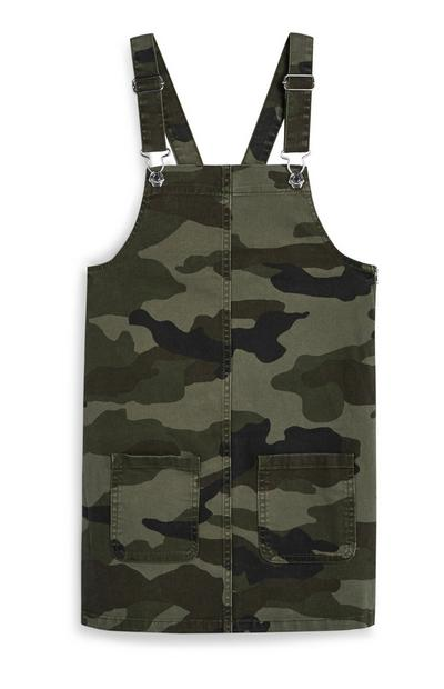Older Girl Camo Print Pinafore