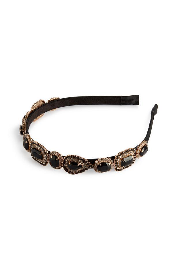 Black Chunky Diamante Gem Headband