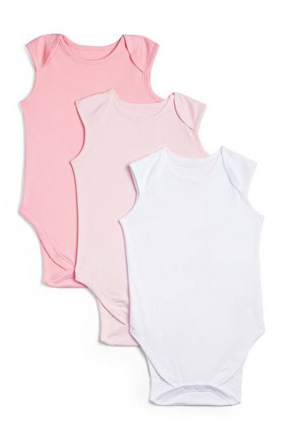 Pack de 3 bodis sin mangas en color rosa para recién nacido