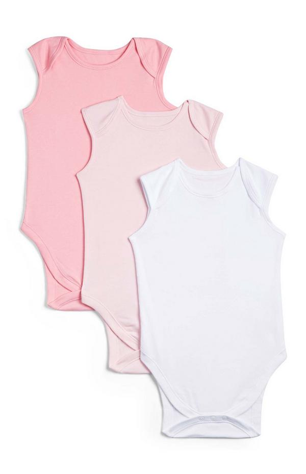 3-Pack Newborn Baby Pink Sleeveless Onesies